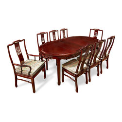 """China Furniture and Arts - 80in Rosewood Bird and Flower Design Oval Table with 8 Chairs - Exhibiting its pleasing simple lines in a distinct Ming (1368-1644) style, this exquisite dining set is intricately carved in cherry blossom and birds motif on the chairs and the edges of the table. Exhibiting its pleasing simple lines in a distinct Ming (1368-1644 AD) style, this exquisite dining set is intricately carved with a cherry blossom and birds motif on the chairs and the edges of the table. Mother of pearl is inlaid on the chairs and table edges as well for added charm. Completely handmade with solid rosewood by artisans in China using traditional joinery technique. The table can be extended to 80"""" with two 18"""" removable leaves for your convenience. Hand applied dark cherry finish enhances the beauty of the wood grain. Silk cushions sold separately. (Side chair: 17""""W x 19""""D x 41.5""""H, arm chair:  22""""W x 21""""D x 41.5""""H.)"""