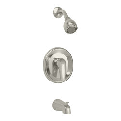 American Standard - Seva Single Handle Tub and Shower Faucet with Multi-Function Showerhead - American Standard T480.502.295 Seva Single Handle Tub and Shower Faucet with Multi-Function Showerhead in Satin Nickel.