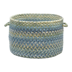 "Colonial Mills, Inc. - Ridgevale, Whipple Blue Utility Basket, 14""X10"" - It's like your traditional braided rug rolled itself up and reinvented itself. This handled basket will help you hold, hide and haul just about everything. The classic wool braids in blues, grays, taupes and greens are sure to look great in your living room, bedroom or anywhere you need a little stylish storage."