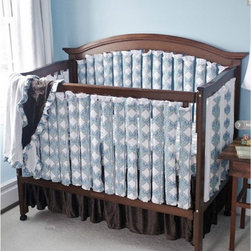 Go Mama Go Designs - Go Mama Go Designs Wonder Bumpers Damask Blue 38 Set - 718122141654 - Shop for Crib Bumper Pads from Hayneedle.com! About Go Mama Go Designs Wonder Bumpers Damask Blue 38 SetScientifically proven to be safe Wonder Bumpers offer padded protection on the crib's hard rails without the risk of suffocation or entanglement. Compared to standard bumpers which have proven to be a suffocation risk Wonder Bumpers offer increased airflow and reduce CO2 re-breathing. The protect baby's head and body and inhibit toddlers from climbing out of their cribs. They also keep limps safely inside. Wonder Bumpers have a sleek vertical design that effortlessly zips onto your crib rails in a downward motion ensuring babies don't have access to the pull. With no ties to worry about they're easy to use and easy to wash.