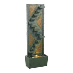 Kenroy Home - Kenroy Home Traverse Floor Fountain, Natural Green Slate - 53205SLCP - Water cascades down the 14-tiered slate steps of Travers. The relaxing sound of water will make a garden or living area a great escape.