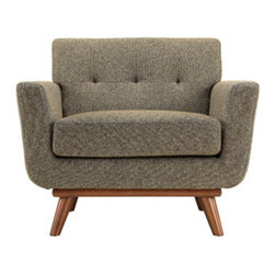 "LexMod - Engage Wood Armchair in Oatmeal tweed - Engage Wood Armchair in Oatmeal tweed - Gently sloping curves and large dual cushions create a favorite lounging spot. Whether plopping down after a long day at work, settling in with coffee and brunch, or entering a spirited discussion with friends, the Engage armchair is a welcome presence in your home. Seven tufted buttons create eye catching appeal; adding depth that brings your sitting decor to center stage. Four cherry color rubber wood legs and frame supply a solid base to the comfortable upholstered material. Set Includes: One - Engage Armchair with wood Legs Cherry color rubber wood, White plastic glides, 100% polyester material, Chair Weight Capacity - 440 lbs. Overall Product Dimensions: 33""L x 40""W x 32.5""H Seat Dimensions: 24.5""L x 27.5""W x 19""H Armrest Dimensions: 4.5""W x 6.5""HBACKrest Dimensions: 6""L x 17.5""H Cushion Thickness: 6""H - Mid Century Modern Furniture."