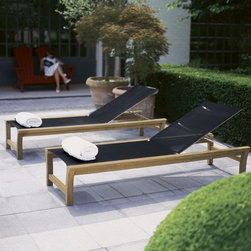 Teak Outdoor Chaise Lounge - Outdoor teak chaise lounge has Batyline fabric and adjustable back.