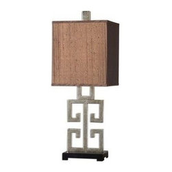 Uttermost - Uttermost 26859-1 Greek Key Table Lamp In Silver - Metal base finished in a lightly antiqued silver champagne leaf with a matte black foot. The rectangle box shade is a silken chocolate bronze fabric with black slubbing.