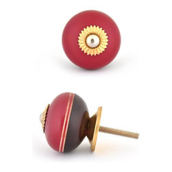 "Knobco - Wooden Knob, Light Brown, Dark Red and Red - Red and dark red wooden knob with light brown double stripes, perfect for your kitchen and bathroom cabinets! The knob is 1.6"" in diameter and includes screws for installation."