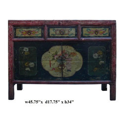 Black Vintage Flower Vase Mongolian Table Cabinet - This is a decorative flower graphic Chinese Mongolian style low table with compartment and 3 drawers for storage. Its old vintage accent enriches the interesting tone to the room.
