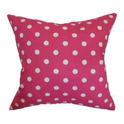 """The Pillow Collection - Nancy Polka Dots Pillow Fuschia White 18"""" x 18"""" - This modern throw pillow is a vision of freshness with its fuchsia pink and white hues. This square pillow oozes with personality thus creating a spunky atmosphere to your interiors. This accent pillow looks gorgeous when propped on top of the bed, sofa or loveseat. Mix and match this 18"""" pillow with solids for a stylish contrast. This decor pillow is made from 100% cotton fabric. Hidden zipper closure for easy cover removal.  Knife edge finish on all four sides.  Reversible pillow with the same fabric on the back side.  Spot cleaning suggested."""