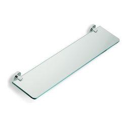 """StilHaus - Clear Glass Bathroom Shelf, Chrome - 23.6"""" glass shelf."""
