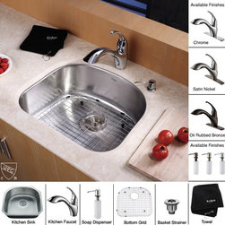 Kraus - 23 in. Single Bowl Kitchen Sink and Faucet with Soap Dispenser - Finish: Chrome