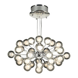PLC Lighting - Coupe Modern Chandelier - The Coupe Modern Chandelier displays a gathering of thirty-seven glowing crystal balls in a clear glass shade with inner frost glass. The crystal spheres are supported by straight rods of the polished chrome finished frame. This mesmerizing chandelier produces plentiful illumination for that magnificent glow in the room. The Coupe accommodates thirty-seven (37) 10 watt, G4 type halogen lamps, which are included. Also included is a quick grip cable support for easy adjustment.