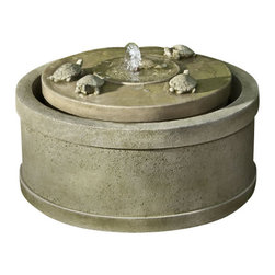 Campania - The Turtle Pond Garden Water Fountain, Copper Bronze - This charming The Turtle Pond Fountain creates a gentle yet formidable accent. The fountain features five playful turtles basking atop the cylindrical top, swimming and playing in the cool soothing water. Perfect for any outdoor setting, you'll love the soothing sensations of water in motion.