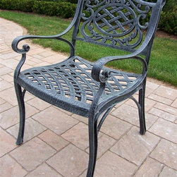 Oakland Living - Patio Arm Chair - Mississippi - Made of Rust Free Cast Aluminum Construction. Easy to follow assembly instructions and product care information. Stainless steel or brass assembly hardware. Fade, chip and crack resistant. 1 year limited. Lightweight and constructed of rust-free cast aluminum. Hardened powder coat finish in Verdi Grey for years of beauty. Pictured in Verdi Grey. Some assembly required. 21.5 in. W x 23 in. L x 34 in. H (27 lbs.)This arm chair will be a beautiful addition to your patio, balcony or outdoor entertainment area. Our arm chairs are perfect for any small space, or to accent a larger space.