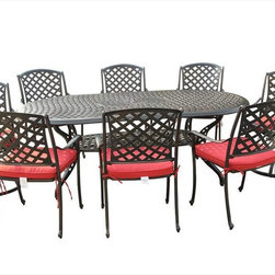 Kontiki - Kontiki Dining Sets - Metal Large (Ideal for 8 or more Seats) - [1.0 set/set]   Malleable in design and robust in structure, the Kontiki Bordeaux Collection adds style and substance to any outdoor space. The marrying of traditional and modern elements of French-inspired design, this collection is an excellent addition to any outdoor décor from chateau to cottage.     Advanced, resilient design and aesthetic       Promising low maintenance and an anti-corrosive surface, the cast aluminum composition of these patio sets offer a sleek and sturdy effect. Unlike wrought iron that begins to rust and break down structurally and aesthetically over time, the cast aluminum finish hones and refines its historic charm as it wears. The black coloring of the frames is accented by a gold-hued antique patina underneath that imbues a quaint, rustic quality to its surroundings. Complimented by the soft, round edges of the each frame, as well as a classic slat weave design, the Bordeaux Collection is at home in any contemporary or modern outdoor setting.    Less hassle, more savings      Patio Furniture is a big investment both financially and physically. We know that the sting of transporting and unloading these logistical nightmares can be just as hard on your wallet as it can on your back; that's why we work every day to eliminate both pain points from your customer experience. We're constantly vetting the industry and engaging the best suppliers in the market to ensure we source only the finest quality products. By building these strong relationships, we are able to work in tandem with top tier manufacturers to eliminate unnecessary costs and guarantee unparalleled pricing.