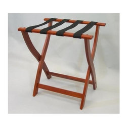 Proman Products - Luggage Rack in Cherry Finish - Folds flat and is easily stored in a closet or against a wall when not in use. Multiple uses when it doubles as a breakfast tray holder or blanket stand. 24 in. W x 17 in. D x 23 in. H