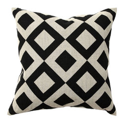 Villa Home - Villa Home African Mod Chobe Diamond Print Throw Pillow - Double Black Diamond. Decorating shouldn't be difficult. That's why Villa Home designed the African Mod Chobe Diamond Print Throw Pillow to have style in spades. With a luxuriously comfortable linen cover and a soft feather-and-down insert, this accent pillow can enhance your living area or bedroom decor in a flash. Pair it with different patterns and bright colors for a trendsetting look, or let it be the sole star of the show on your sofa. The hip African-inspired diamond pattern is perfect for an eclectic space or international-style home. Take the easy route to simply striking style with this stunner from Villa Home.Cover: 100% linenIncluded insert: 95% feather; 5% downMade in India