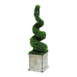 Woodland Imports - Spiral Topiary Green Color Fleur De Lis Planter Home Patio Garden Decor 20508 - Polyester spiral topiary boxwood in natural green color and Fleur De Lis planter home patio garden decor