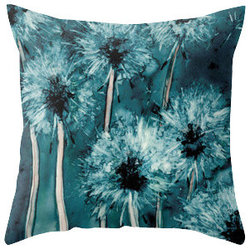 Brazen Design Studio - Decorative Pillow Cover - Dandelion Wishes - Floral Throw Pillow Cushion - Fine - Liven up your space with a fine art pillow cover featuring my original artwork! This listing is for one pillow cover featuring my vibrant watercolor painting, on 100% spun designer polyester poplin fabric, a stylish statement to brighten up any room.