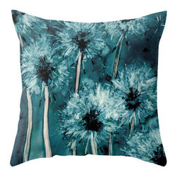Brazen Design Studio - Decorative Pillow Cover - Dandelion Wishes - Floral Throw Pillow Cushion, 16x16 - Liven up your space with a fine art pillow cover featuring my original artwork! This listing is for one pillow cover featuring my vibrant watercolor painting, on 100% spun designer polyester poplin fabric, a stylish statement to brighten up any room.