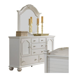 Broyhill - Broyhill Mirren Harbor 5 Drawer 2 Door Dresser and Mirror Set in White - Broyhill - Dressers - 40242324024236Set
