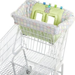 Taggies Tag n Go Cart Cover - Elefriend Snuggles - Keeping your little man occupied and warding off germs while shopping is easy with the Taggies Tag n Go Cart Cover - Elefriend Snuggles. This cart cover turns cold, germy shopping carts into a comfortable, fun, and safe place for your baby while you get your shopping done. Extra padding around the leg holes and the buckle and t-strap provide extra security for your wee lad. Plush, machine-washable fabrics, as well as cute elephant appliques and embroidery add to the charm of this handy seat cover. It works great for restaurant high chairs too!About Taggies and Kids IITaggies is part of the Kids II family. Kids II was founded in 1969 when a grandmother came up with a great idea to keep infants from slipping in the bathtub. Since then, Kids II has been inventing ingenious solutions and brands for today's families. Do you know the secret of Taggies? Taggies knows that babies are inherently attracted to texture and tags. They crave sensory experiences from birth because babies learn through their senses. All Taggies tags are made of satin to look cute and satisfy baby's need for tactile stimulation.