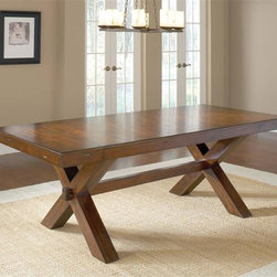 "Hillsdale - Trestle Table - Trestle style dining table. Ladder back style chairs. Table seats 6-10. Dark cherry finish. Table measures 84"" without leaf, 108"" with leaf. Table: 30 in. H x 84 in. L x 40 in. W (with 2 - 12'' leaves - 108 in. L)"