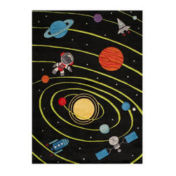 Grandin Road - Outerspace Area Rug - 2'x 3' - Adorable and plush handcarved area rug. Colorful space sightings on a black ground. Hand-tufted construction. 100% modacrylic. Extend the life of your rug with a Nonslip Rug Pad (sold separately). Let your imagination go out of this world: our sculpted Outer Space Indoor Area Rug invites a colorful group of planets, stars, astronauts, and spaceships to take the floor of your child's playroom or nursery.. . . . .