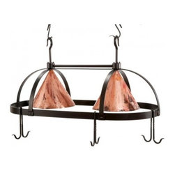 Stone Country Ironworks Oval Dutch Lighted Pot Rack - Copper Shades - About Stone County IronworksNestled in Mountain View, Arkansas, in the heart of Ozark country, Stone County Ironworks started in 1979 with the goal of preserving the time-honored tradition of hand-wrought iron furniture and home accents. Each Stone County piece is hand-forged using traditional blacksmithing techniques, and the company is committed to the integrity, excitement, and pride of handmade goods that can only be found in Stone County.