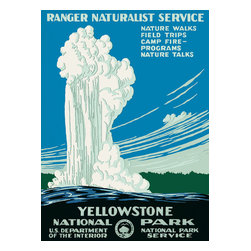 """Yellowstone National Park, Ranger Naturalist Service Print - Poster Shows Old Faithful erupting at Yellowstone National Park. Copy in the print reads """"Yellowstone National Park, Ranger Naturalist Service. Nature walks, field trips, camp fire-programs, nature talks."""" Created for the US Department of the Interior, National Park Service, [ca. 1938]"""
