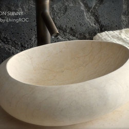 Livingroc - Oval Egyptian Marble Vessel Sink 19.3 x 15 - COCOON SUNNY -
