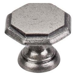 "Top Knobs - Devon Knob 1 1/4"" - Pewter Antique - Length - 1 1/4"", Width - 1 1/4"", Projection - 1 1/16"", Base Diameter - 13/16"""