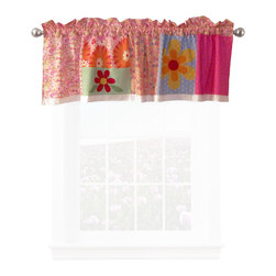 Pem America - Olivia Pink Valance - Large bright flowers with applique and fun background floral prints.  This versatile pattern is a must to brighten up any room.  The fun prints for this patterns use bright yellow, orange, red, hot pink to make this bed pop.  Any room will benefit from the color that Olivia brings into the room. Valance measures 18 inches high by 70 inches wide with 3 inch rod pocket. 100% cotton face material. Machine wash cold/gentle, do not bleach, tumble dry low.