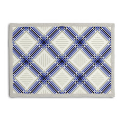 Blue & Black Criss Cross Tailored Placemat Set - Class up your table's act with a set of Tailored Placemats finished with a contemporary contrast border. So pretty you'll want to leave them out well beyond dinner time! We love it in this modern diamond trellis of interlocking blue, black & gray on white indoor outdoor fabric.