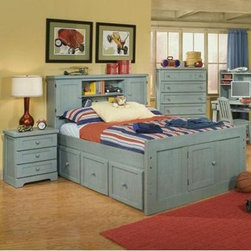 Casual Wood Weathered Blue Bookcase Storage Bed - Toys books alarm clocks oh my. Kids and teens sure have a lot of stuff and you can store it in style with the Casual Wood Weathered Blue Bookcase Storage Bed. Finished in a weathered blue this bookcase storage bed adds a splash of color to your kid's bedroom decor. The headboard features two cupboards and two shelves for all those essentials while the footboard sports a cupboard door for under-bed access. Plus this bed is constructed of pine from fully renewable plantations. So it's more than just a colorful addition to your child's room but a smart investment in Earth's future. Just choose the size that best fits your space.Need even more storage? The optional under-bed storage unit is the perfect option. It features three framed-up drawers with matching wood pulls and full-extension guides. A smart space-saver for any bedroom.Dimensions:Twin: 89.5L x 45.75W x 52H inchesFull: 89.25L x 60.75W x 52H inchesUnder-bed storage unit: 76L x 16.62W x 16.62H inchesAbout American WoodcraftersFor unparalleled quality and value choose American Woodcrafters for your youth or master bedroom furniture. Founded in 1996 as a division of Rockford Capital Corporation and located in High Point N.C. American Woodcrafters is the brainchild of John N. Foster. His 40 years of experience in manufacturing marketing and product development inspire the company to deliver superior furniture designs of exceptional value. Each exquisite furniture piece is well-made and creatively styled with a fine quality finish and innovative features to make your home more beautiful and functional.