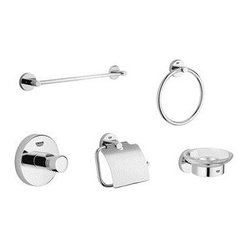 """Grohe - Grohe 40 344 EN0 Essentials Accessory Kit, Brushed Nickel - Grohe 40 344 EN0 Essentials Accessory Kit, Brushed Nickel Grohe bathroom accessories meet the challenge of upscale bathroom design by providing the finishing touches that create a perfectly designed bathing and showering experience. Perfection in beauty lies in attention to detail, and a bathroom is not complete, much less perfect, without matching Grohe accessories. Grohe's bathroom accessories are designed to complement its well-crafted bathroom fittings. Grohe 40 344 EN0 Essentials Accessory Kit, Brushed Nickel Features: 24"""" Towel Bar 8"""" Towel Ring Robe Hook Paper Holder Soap Dish Brushed Nickel * Image shown may vary by color, finish, or material"""