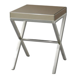 Uttermost - Uttermost Lexia Modern Side Table 24299 - Bronze mirror faceted on all sides with a stainless steel base.