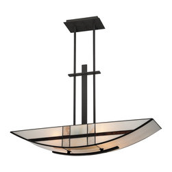 Quoizel - Quoizel TFLU433K Luxe Transitional Kitchen Island / Billiard Light - A Tiffany design enhanced by a mystic black finish, Luxe is more transitional with a less formal styling.  The slim frame and sweeping Tiffany art glass is a great fit for many home design styles.
