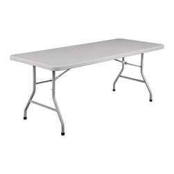 National Public Seating - National Public Seating 72 Inch Rectangular Blow Mold Folding Table in Gray - Use National Public Seating's colorful plastic folding table with adjustable height anywhere people gather. It's easy to adjust the height from 22 to 32 inches, so this table is a perfect fit for any occasion. Plus, the blow-molded plastic top is a cinch to wipe clean. Sturdy steel frame supports up to 1,000 pounds. Choose an attractive grey, red or blue table.