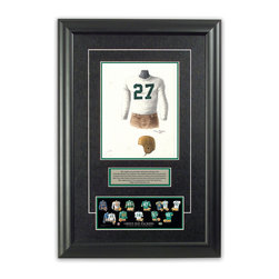 "Heritage Sports Art - Original art of the NFL 1939 Green Bay Packers uniform - This beautifully framed piece features an original piece of watercolor artwork glass-framed in an attractive two inch wide black resin frame with a double mat. The outer dimensions of the framed piece are approximately 17"" wide x 24.5"" high, although the exact size will vary according to the size of the original piece of art. At the core of the framed piece is the actual piece of original artwork as painted by the artist on textured 100% rag, water-marked watercolor paper. In many cases the original artwork has handwritten notes in pencil from the artist. Simply put, this is beautiful, one-of-a-kind artwork. The outer mat is a rich textured black acid-free mat with a decorative inset white v-groove, while the inner mat is a complimentary colored acid-free mat reflecting one of the team's primary colors. The image of this framed piece shows the mat color that we use (Hunter Green). Beneath the artwork is a silver plate with black text describing the original artwork. The text for this piece will read: This original, one-of-a-kind watercolor painting of the 1939 Green Bay Packers uniform is the original artwork that was used in the creation of this Green Bay Packers uniform evolution print and tens of thousands of other Green Bay Packers products that have been sold across North America. This original piece of art was painted by artist Tino Paolini for Maple Leaf Productions Ltd.  1939 was a NFL Championship winning season for the Green Bay Packers. Beneath the silver plate is a 3"" x 9"" reproduction of a well known, best-selling print that celebrates the history of the team. The print beautifully illustrates the chronological evolution of the team's uniform and shows you how the original art was used in the creation of this print. If you look closely, you will see that the print features the actual artwork being offered for sale. The piece is framed with an extremely high quality framing glass. We have used this glass style for many years with excellent results. We package every piece very carefully in a double layer of bubble wrap and a rigid double-wall cardboard package to avoid breakage at any point during the shipping process, but if damage does occur, we will gladly repair, replace or refund. Please note that all of our products come with a 90 day 100% satisfaction guarantee. Each framed piece also comes with a two page letter signed by Scott Sillcox describing the history behind the art. If there was an extra-special story about your piece of art, that story will be included in the letter. When you receive your framed piece, you should find the letter lightly attached to the front of the framed piece. If you have any questions, at any time, about the actual artwork or about any of the artist's handwritten notes on the artwork, I would love to tell you about them. After placing your order, please click the ""Contact Seller"" button to message me and I will tell you everything I can about your original piece of art. The artists and I spent well over ten years of our lives creating these pieces of original artwork, and in many cases there are stories I can tell you about your actual piece of artwork that might add an extra element of interest in your one-of-a-kind purchase."