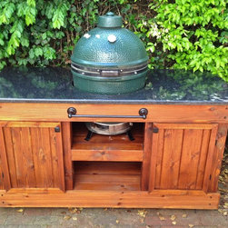 Big Green Egg Table -- Double Door, Golden Oak & Black Pearl -