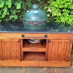 Big Green Egg Table -- Double Door, Golden Oak & Black Pearl -