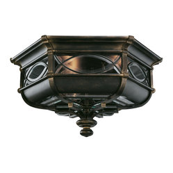 Fine Art Lamps - Warwickshire Outdoor Flush Mount, 611682ST - Perfect for a covered porch, this flush-mount outdoor fixture sports a sultry wrought iron patina that's lightened by individual panels of beveled leaded glass. Sinuous mullions and a sculpted drop accentuate the design's historical roots.