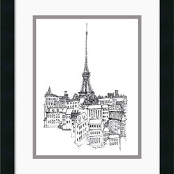 Amanti Art - Eiffel Tower Framed Print by Avery Tillmon - Bring a little urban flavor to your decor with this charming drawing of the Eiffel Tower, set against a Parisian cityscape.