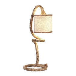 Rope Table Lamp - Your side table just got a whole lot more interesting. Adding a bit of a rustic touch, this swirly rope table lamp is unique and full of personality. With a linen flared drum shade, it gives off a nice, warm glow.