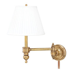 "Lamps Plus - Traditional Chatham Aged Brass Plug-In Swing Arm Wall Lamp - A great reading light for the bedroom or favorite chair this swing arm wall light features a traditional design with a faux silk shade in off-white and a warm antique brass finish. Easy to install simply attach lamp to wall and plug into any standard wall outlet. This lamp is ideal for bedroom headboard lighting desktops or above work benches for directed lighting. Aged brass finish. Plug-in style wall light. Off-white faux silk shade. Takes one 75 watt bulb (not included). 17"" high. Backplate is 5"" round. Shade is 6"" across top 11"" across bottom 8 1/2"" high.  Aged brass finish.   Plug-in style wall light.   Off-white faux silk shade.   Takes one 75 watt bulb (not included).   17"" high.   Backplate is 5"" round.   Shade is 6"" across top 11"" across bottom 8 1/2"" high."