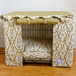 """Frontgate - Damask Pet Crate Cover - Small - Tan and cream printed sides. Solid tan top. 100% cotton canvas. Velcro ® tabs secure two of the rollup panels. Crate cover includes canvas storage pouch. Transform an ordinary metal crate into a den of luxury with this Damask Crate Cover & Bed. The elegantly tailored cover surrounds pets with a sense of sense of security, while the plush 4"""" thick bed (sold separately) cushions them as they rest and relax. Two of the crate cover panels roll up for easy access or roll down for naptime.  .  .  . Velcro tabs secure two of the rollup panels .  . Bed (sold separately) filled with densely spun polyester . Bed cover unzips for cleaning . Machine washable; dry cleaning recommended . Imported."""