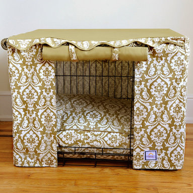"Frontgate - Damask Pet Crate Cover - Small - Tan and cream printed sides. Solid tan top. 100% cotton canvas. Velcro ® tabs secure two of the rollup panels. Crate cover includes canvas storage pouch. Transform an ordinary metal crate into a den of luxury with this Damask Crate Cover & Bed. The elegantly tailored cover surrounds pets with a sense of sense of security, while the plush 4"" thick bed (sold separately) cushions them as they rest and relax. Two of the crate cover panels roll up for easy access or roll down for naptime.  .  .  . Velcro tabs secure two of the rollup panels .  . Bed (sold separately) filled with densely spun polyester . Bed cover unzips for cleaning . Machine washable; dry cleaning recommended . Imported."