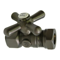 "Kingston Brass - Straight Stop with 1/2"" IPS x 1/2"" or 7/16"" Slip Joint - The 1/4-turn straight valve features an easy-to-handle cross lever which controls the movement of water through and from plumbing fixtures. The valve is made of solid brass built for durability and dependability and also comes in a variety of finishes to better coordinate your kitchen/bathroom.; 1/4-Turn Straight Stop; 1/2"" IPS X 1/2"" or 7/16"" Slip Joint; English Vintage design; High Quality Brass Construction; Premier Finish Cross Handle; Material: Brass; Finish: Oil Rubbed Bronze Finish; Collection: Vintage"