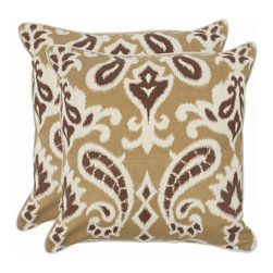 Safavieh - Safavieh Dylan Pillow (2) X-2TES-8181-A438LIP - Reminiscent of the calico designs imported from India famously printed in by French artisans in Provence, the desert brown paisley motif of this accent pillow enlivens a soft and organic fabric of cotton and linen blend.