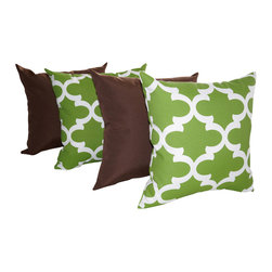 Land of Pillows - Solar Praline Brown and Fynn Bay Green Quatrefoil Outdoor Throw Pillows - 4 pack - Give your sofa, window seat or patio lounge chair a boost of color and cushion with these modern throw pillows. This set of four stylish pillows includes two with a chic green and white quatrefoil design, and two in a clean, solid praline brown. Crafted from high quality fabric that is stain, water and fade resistant, these square pillows work great indoors or out!