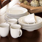 Great White Traditional Dinnerware, 16-Piece Set with Soup Bowl - A pared-down take on our popular Great White Dinnerware, our versatile Great White Traditional Dinnerware is perfect for everyday use. Made of high-fired, hand-glazed porcelain. Coordinates with our Great White Dinnerware. 16-piece set includes 4 dinner plates, 4 salad plates, 4 mugs and your choice of either 4 soup or cereal bowls. Microwave and dishwasher safe.